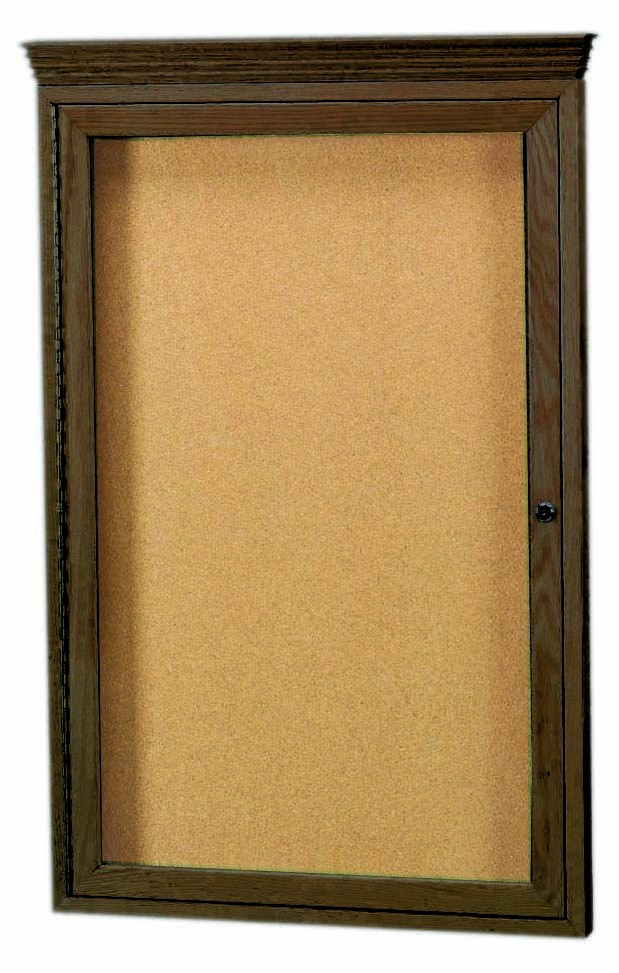 Walnut Stained Oak 1-Door Enclosed Bulletin Board Cabinet W/crown Molding - 36