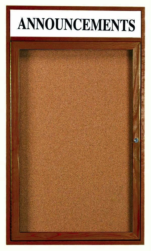 "Aarco Products WBC3624RH 1-Door Enclosed Bulletin Board with Walnut Finish and Header, 36""H x 24""W"