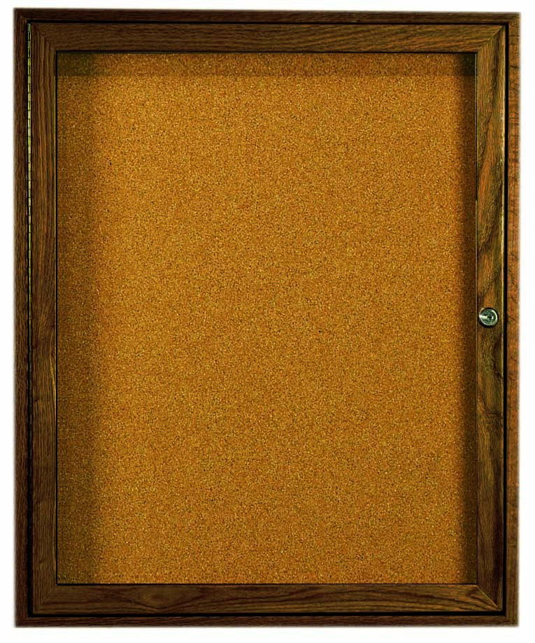"""Aarco Products WBC3630r 1-Door Enclosed Bulletin Board with Walnut Finish 36""""H x 30""""W"""