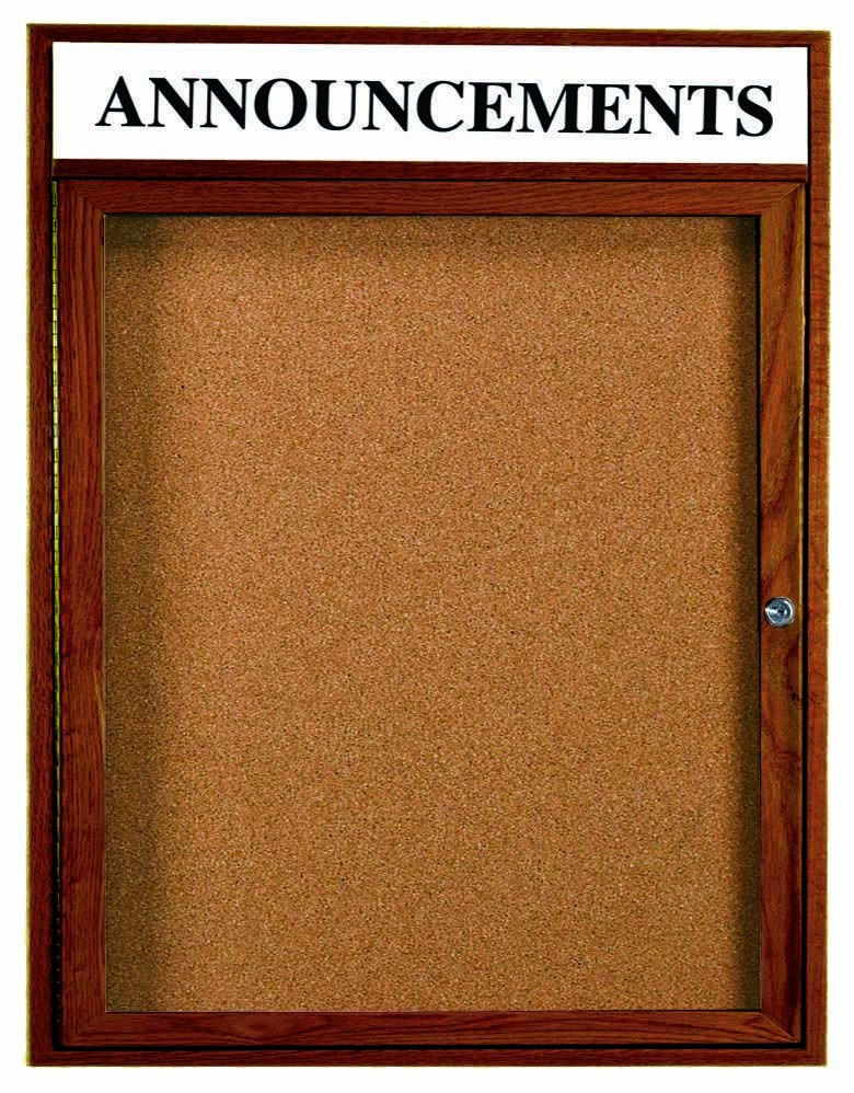 "Aarco Products WBC3630RH 1-Door Enclosed Bulletin Board with Walnut Finish and Header, 36""H x 30""W"