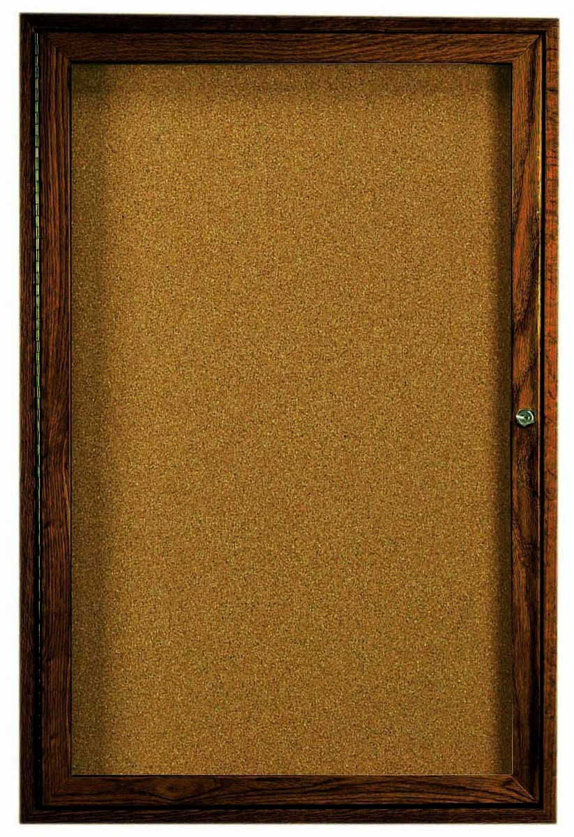 "Aarco Products WBC4836r 1-Door Enclosed Bulletin Board with Walnut Finish 48""H x 36""W"