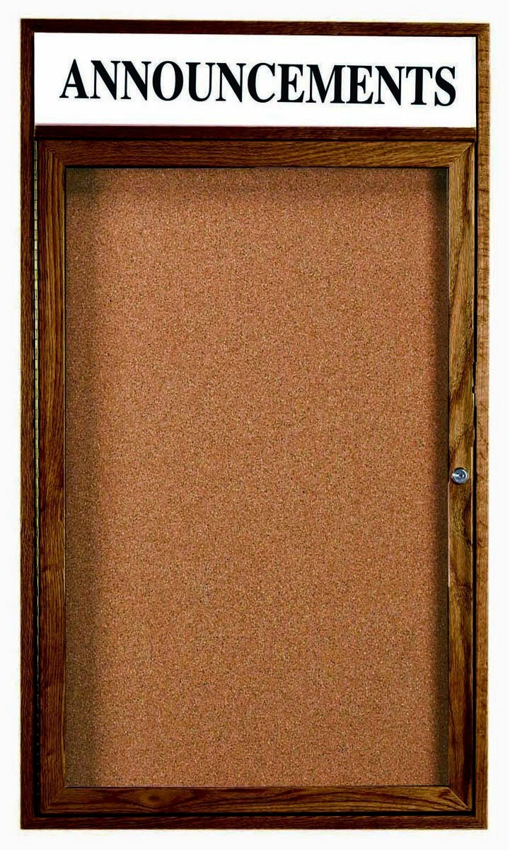 Walnut Stained Oak 1-Door Enclosed Bulletin Board Cabinet W/header - 48