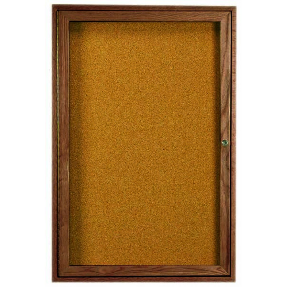 "Aarco Products WBC2418r 1-Door Enclosed Bulletin Board with Walnut Finish 24""H x 18""W"