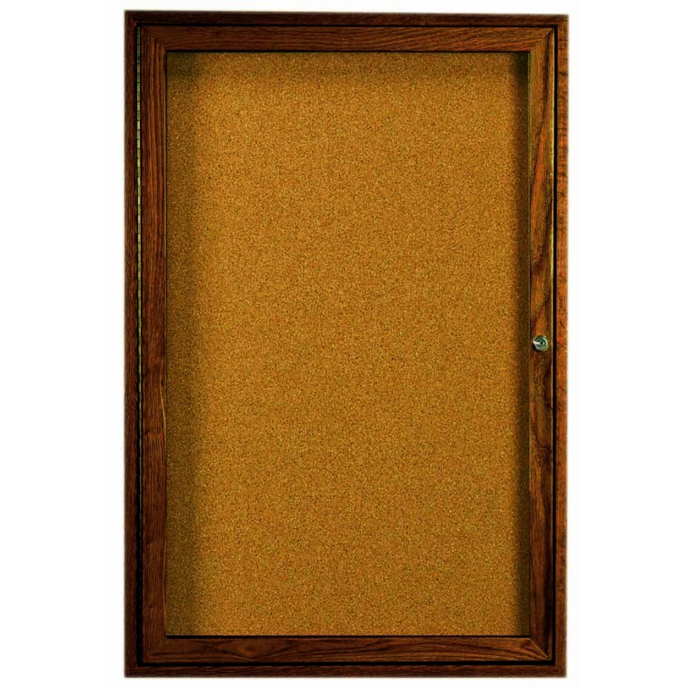 "Aarco Products WBC3624r 1-Door Enclosed Bulletin Board with Walnut Finish 36""H x 24""W"