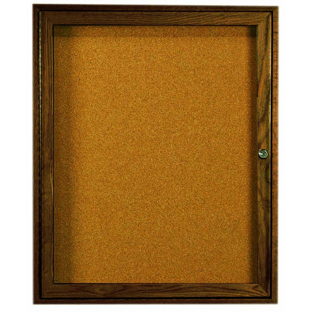Walnut Stained Oak 1-Door Enclosed Bulletin Board Cabinet - 36