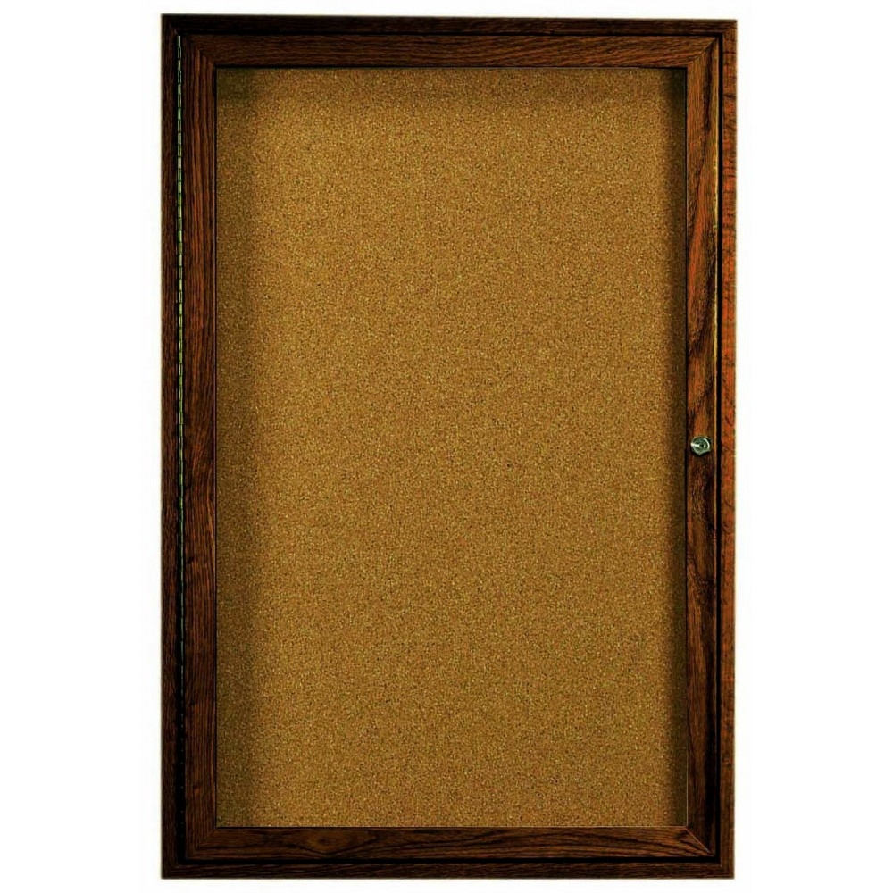 Walnut Stained Oak 1-Door Enclosed Bulletin Board Cabinet - 48