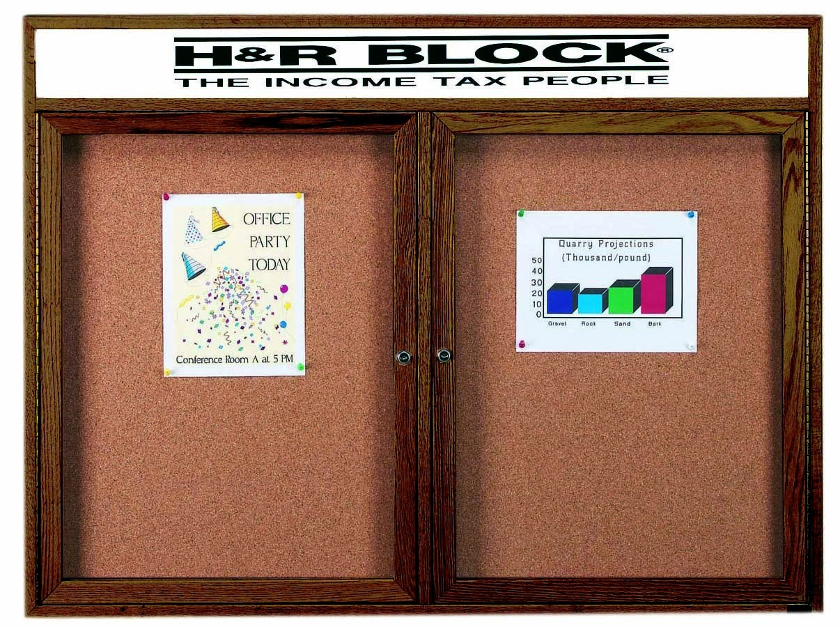 "Aarco Products WBC3648RH 2-Door Enclosed Bulletin Board with Walnut Finish and Header, 36""H x 48""W"