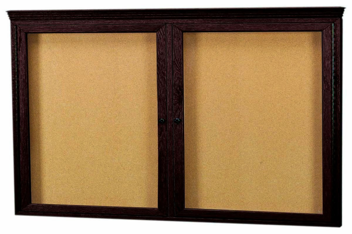 Walnut Stained Oak 2-Door Enclosed Bulletin Board Cabinet W/crown Molding - 36