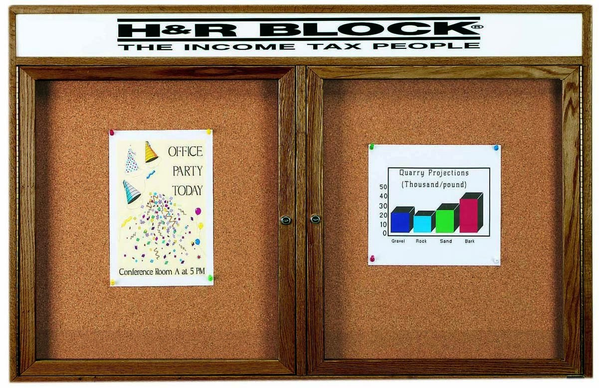 "Aarco Products WBC3660RH 2-Door Enclosed Bulletin Board with Walnut Finish and Header, 36""H x 60""W"