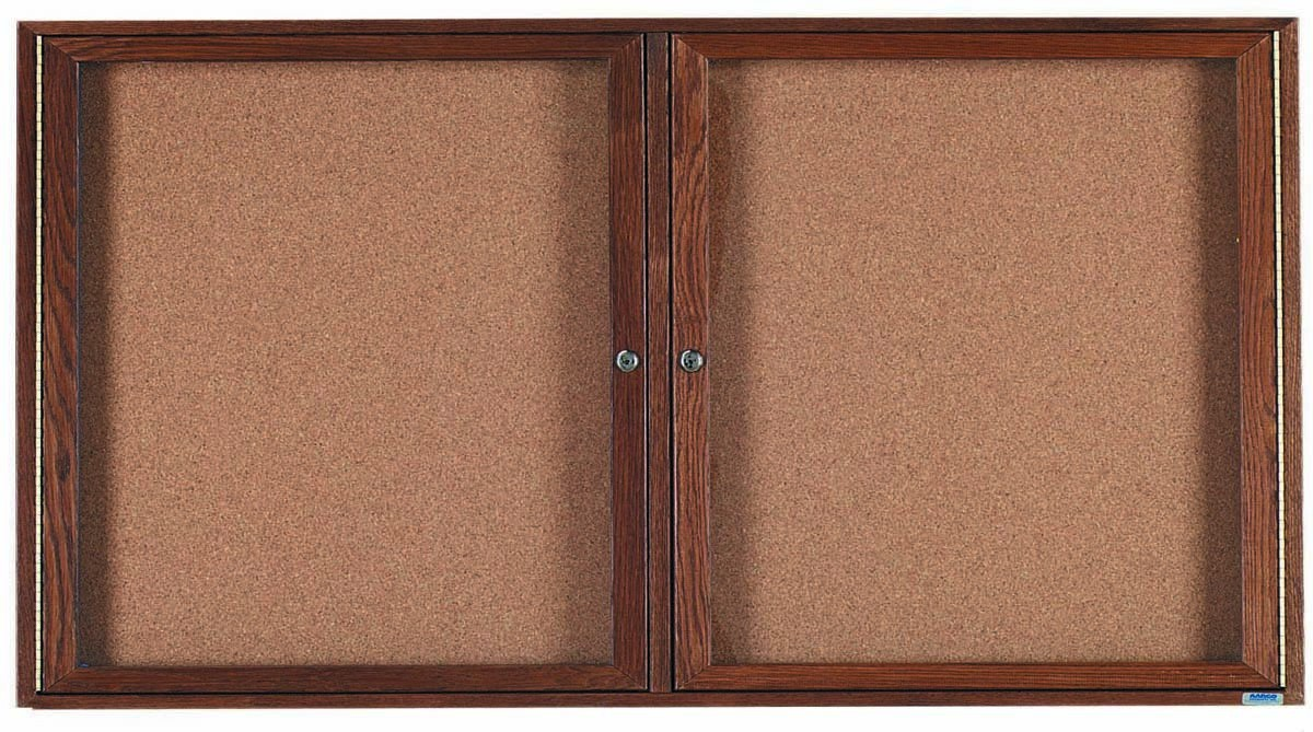 Walnut Stained Oak 2-Door Enclosed Bulletin Board Cabinet - 36