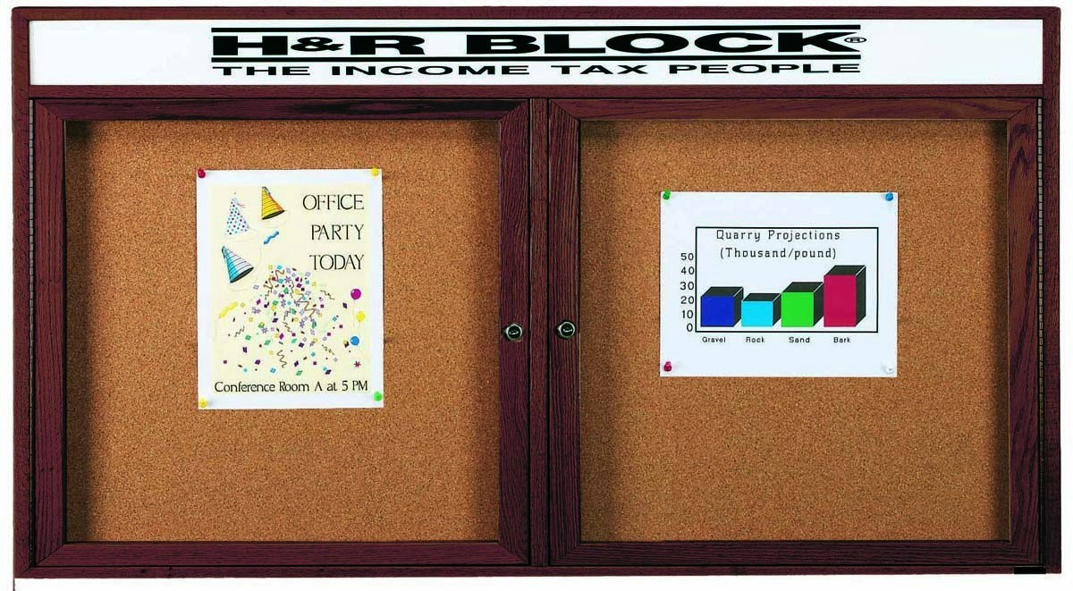 """Aarco Products WBC3672RH 2-Door Enclosed Bulletin Board with Walnut Finish and Header, 36""""H x 72""""W"""