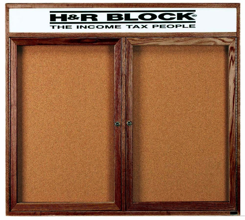 "Aarco Products WBC4860RH 2-Door Enclosed Bulletin Board with Walnut Finish and Header, 48""H x 60""W"