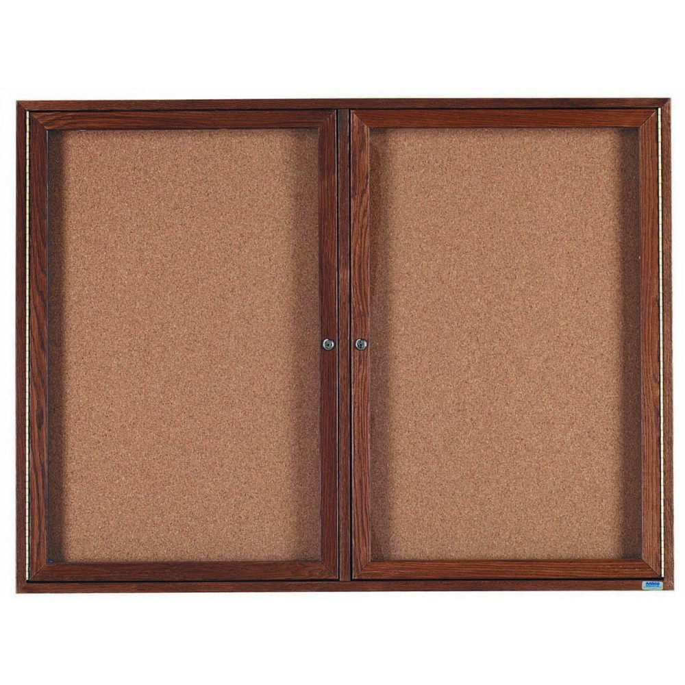 "Aarco Products WBC3648r 2-Door Enclosed Bulletin Board with Walnut Finish 36""H x 48""W"