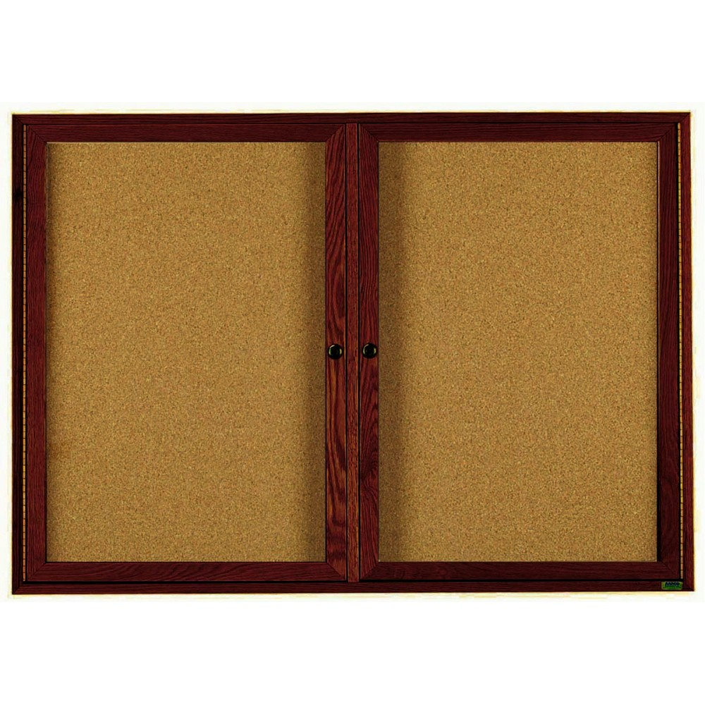 "Aarco Products WBC3660r 2-Door Enclosed Bulletin Board with Walnut Finish 36""H x 60""W"