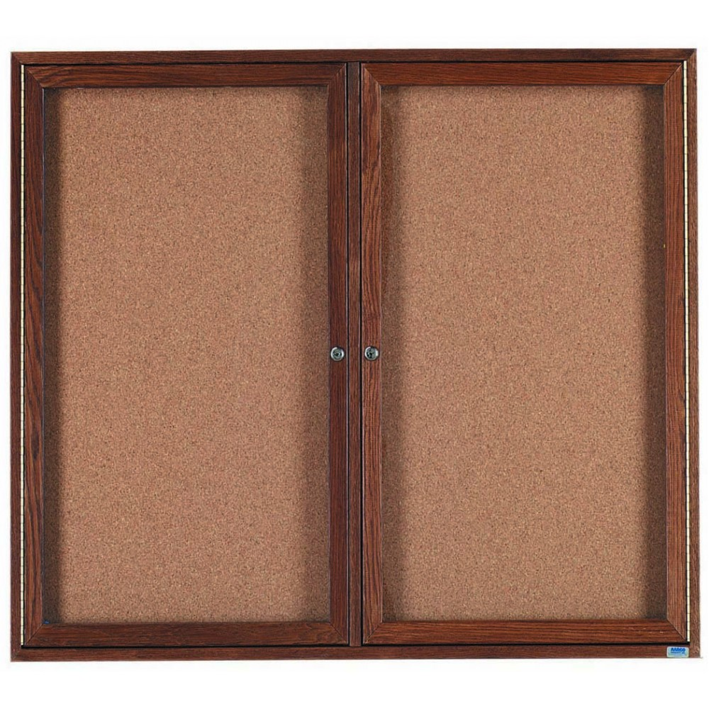 "Aarco Products WBC4860r 2-Door Enclosed Bulletin Board with Walnut Finish 48""H x 60""W"