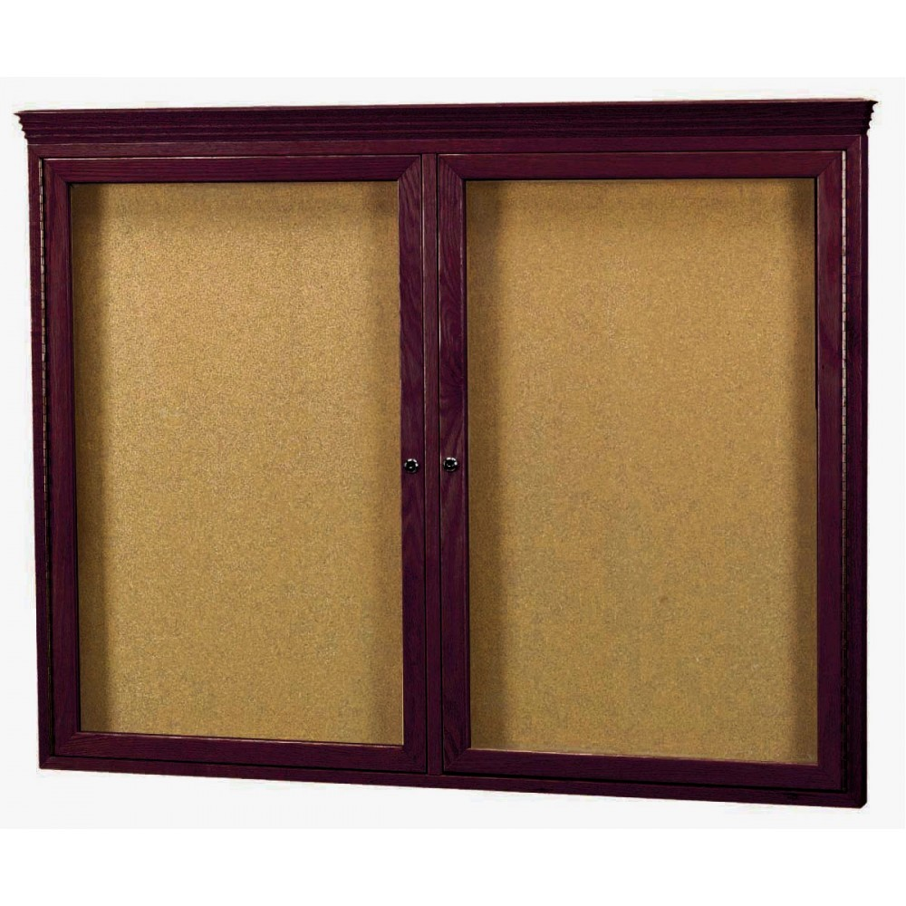 "Aarco Products WBC3648RC 2-Door Enclosed Bulletin Board with Walnut Finish and Crown Molding, 36""H x 48""W"