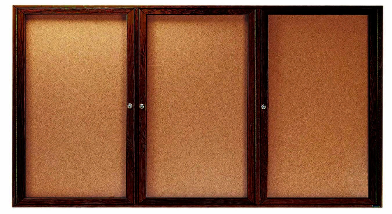 """Aarco Products WBC3672-3r 3-Door Enclosed Bulletin Board with Walnut Finish, 36""""H x 72""""W"""