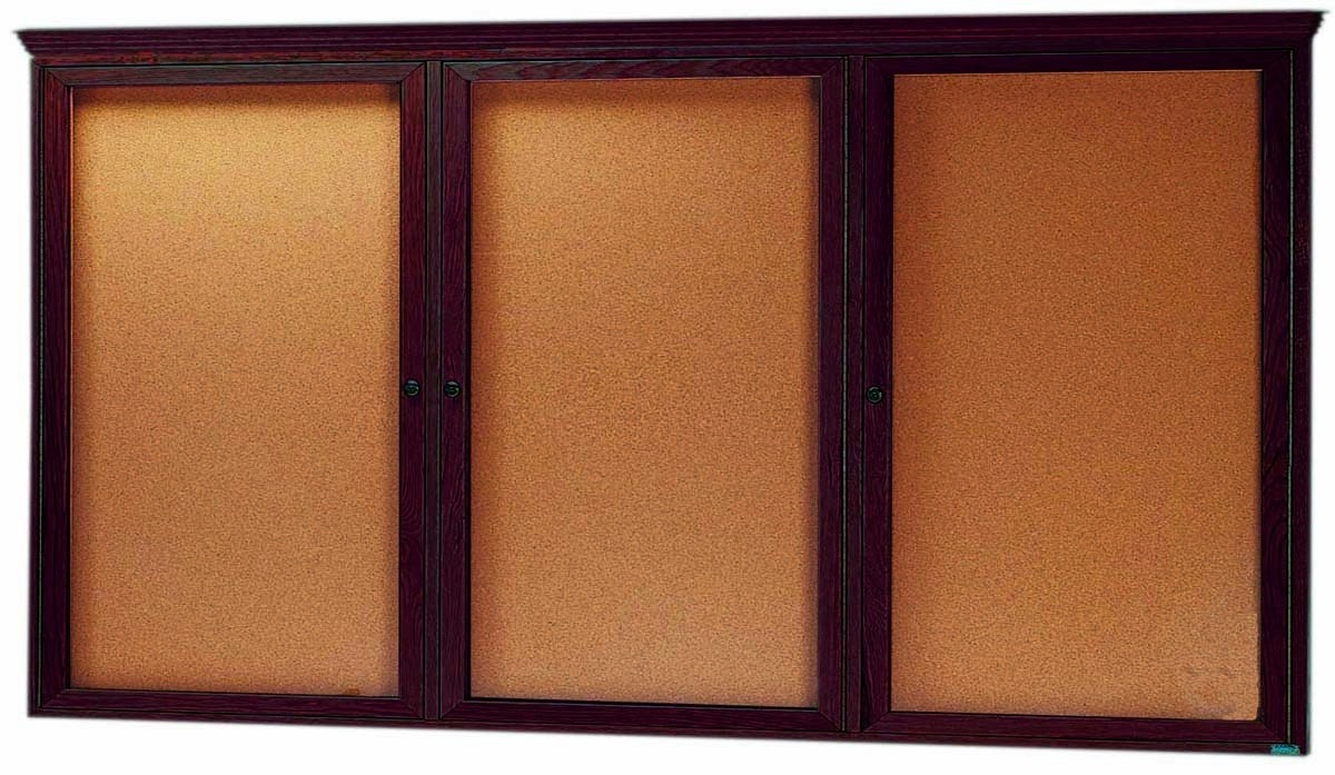 "Aarco Products WBC3672RC 3-Door Enclosed Bulletin Board with Walnut Finish and Crown Molding, 36""H x 72""W"