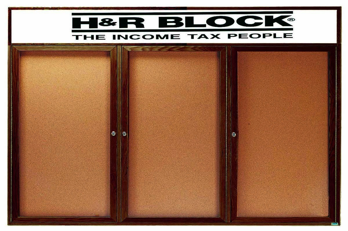 """Aarco Products WBC3672-3RH 3-Door Enclosed Bulletin Board with Walnut Finish and Header, 36""""H x 72""""W"""