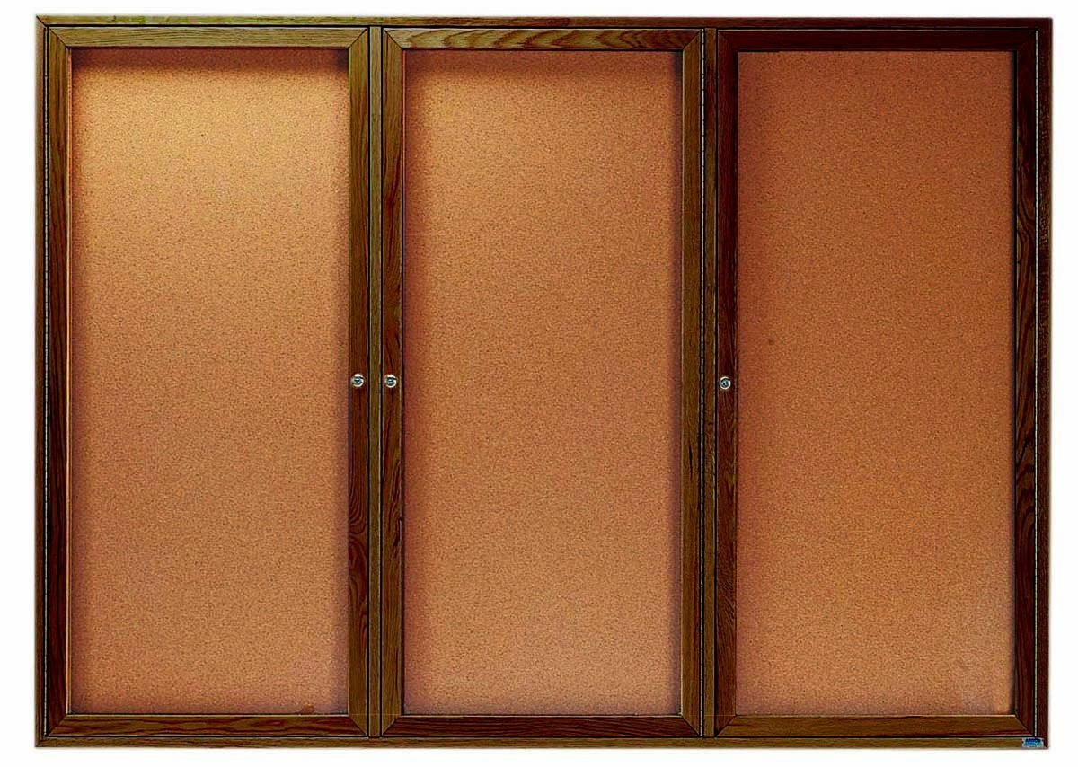 "Aarco Products WBC4872-3r 3-Door Enclosed Bulletin Board with Walnut Finish 48""H x 72""W"