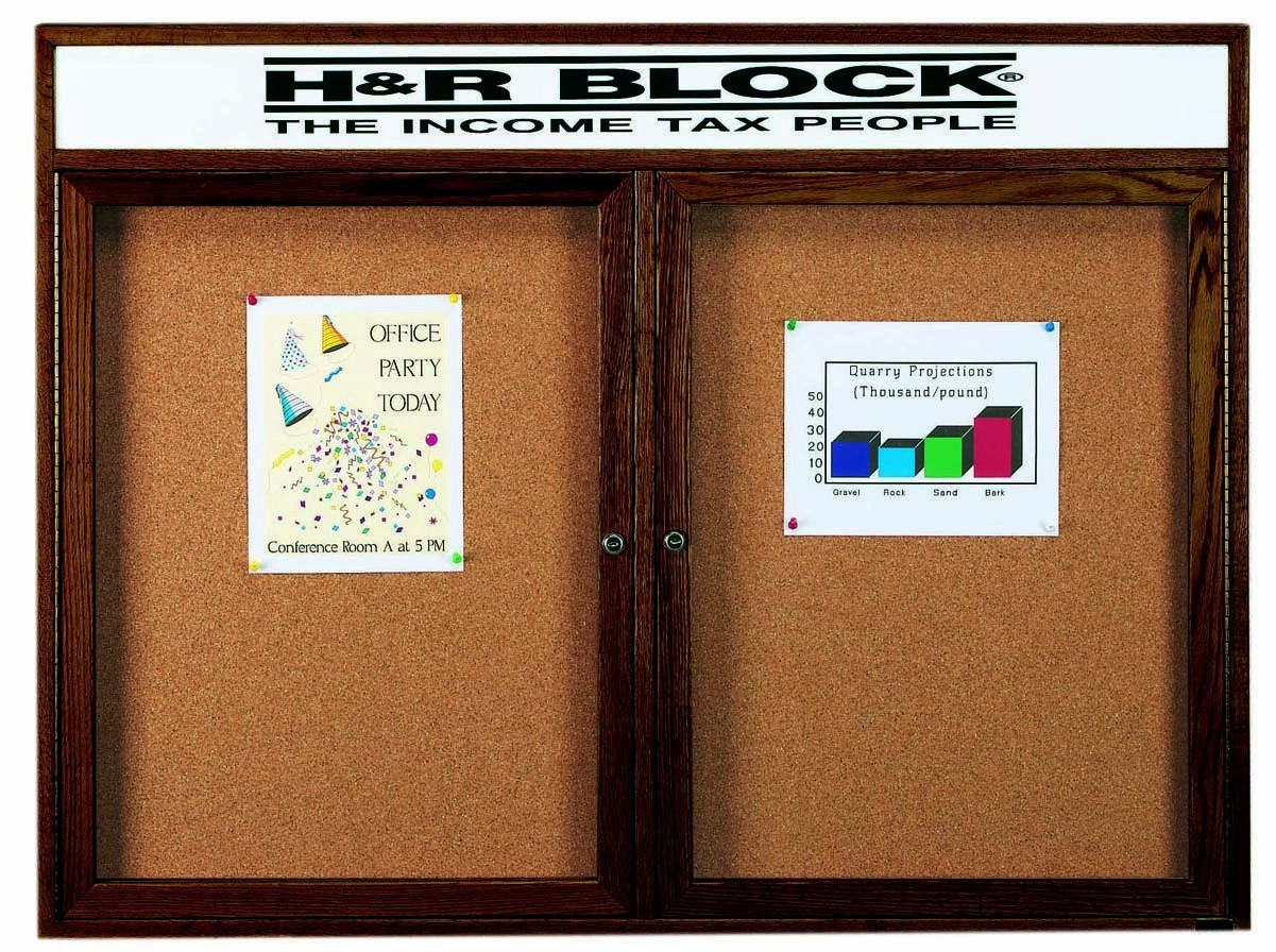 """Aarco Products WBC4872RH 2-Door Enclosed Bulletin Board with Walnut Finish and Header, 48""""H x 72""""W"""