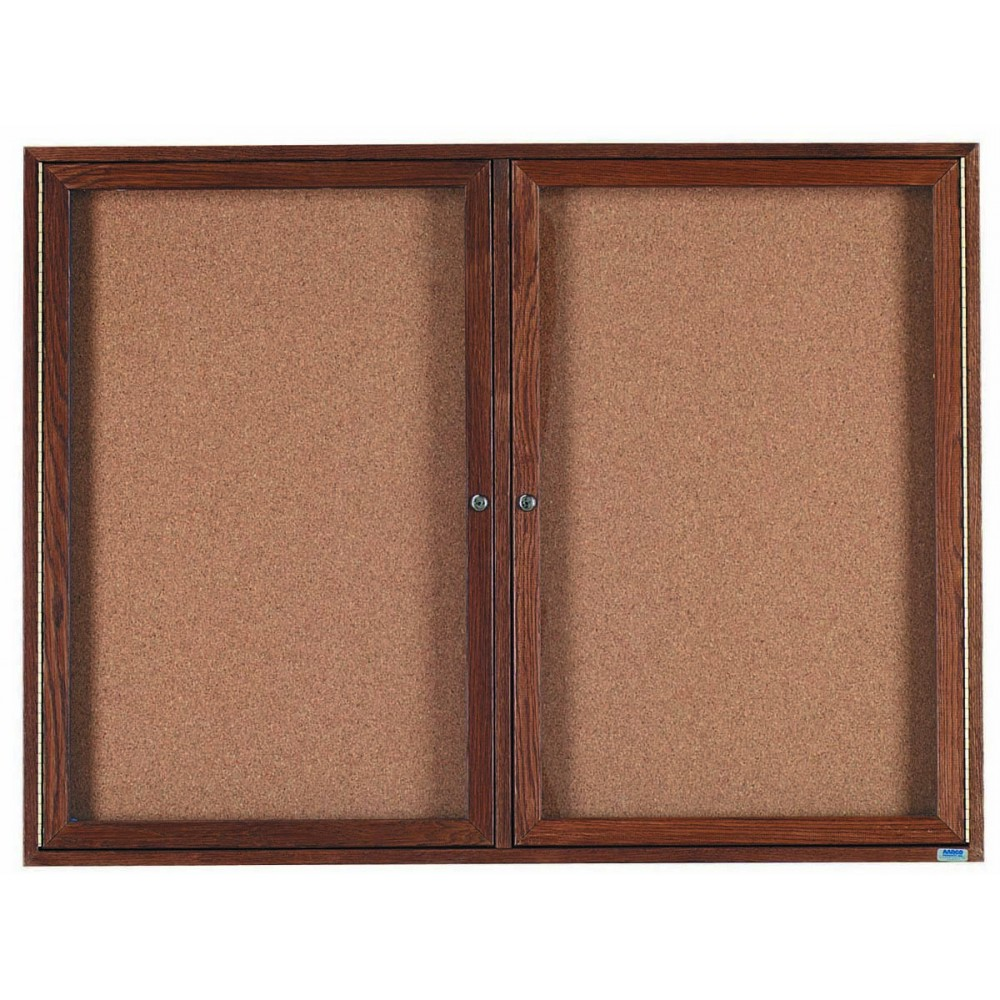 "Aarco Products WBC4872r 2-Door Enclosed Bulletin Board with Walnut Finish, 48""H x 72""W"