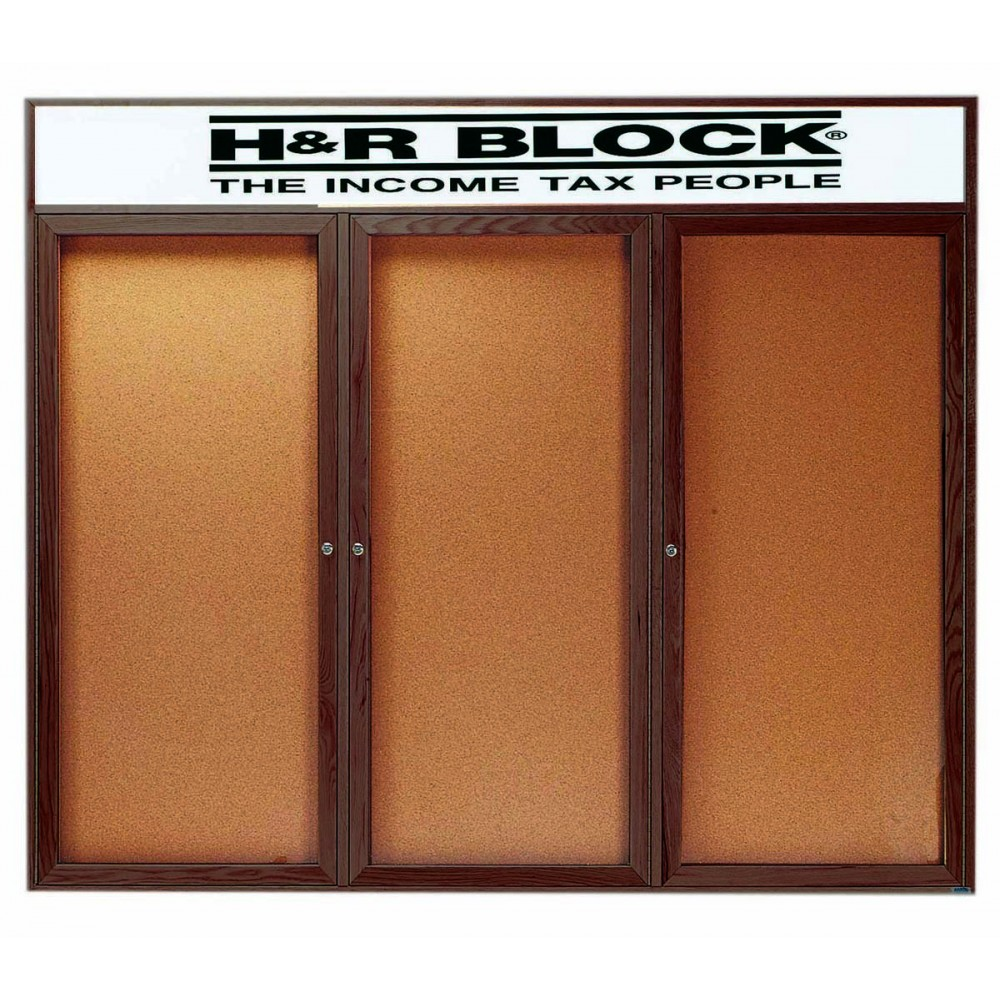 "Aarco Products WBC4872-3RH 3-Door Enclosed Bulletin Board with Walnut Finish and Header, 48""H x 72""W"
