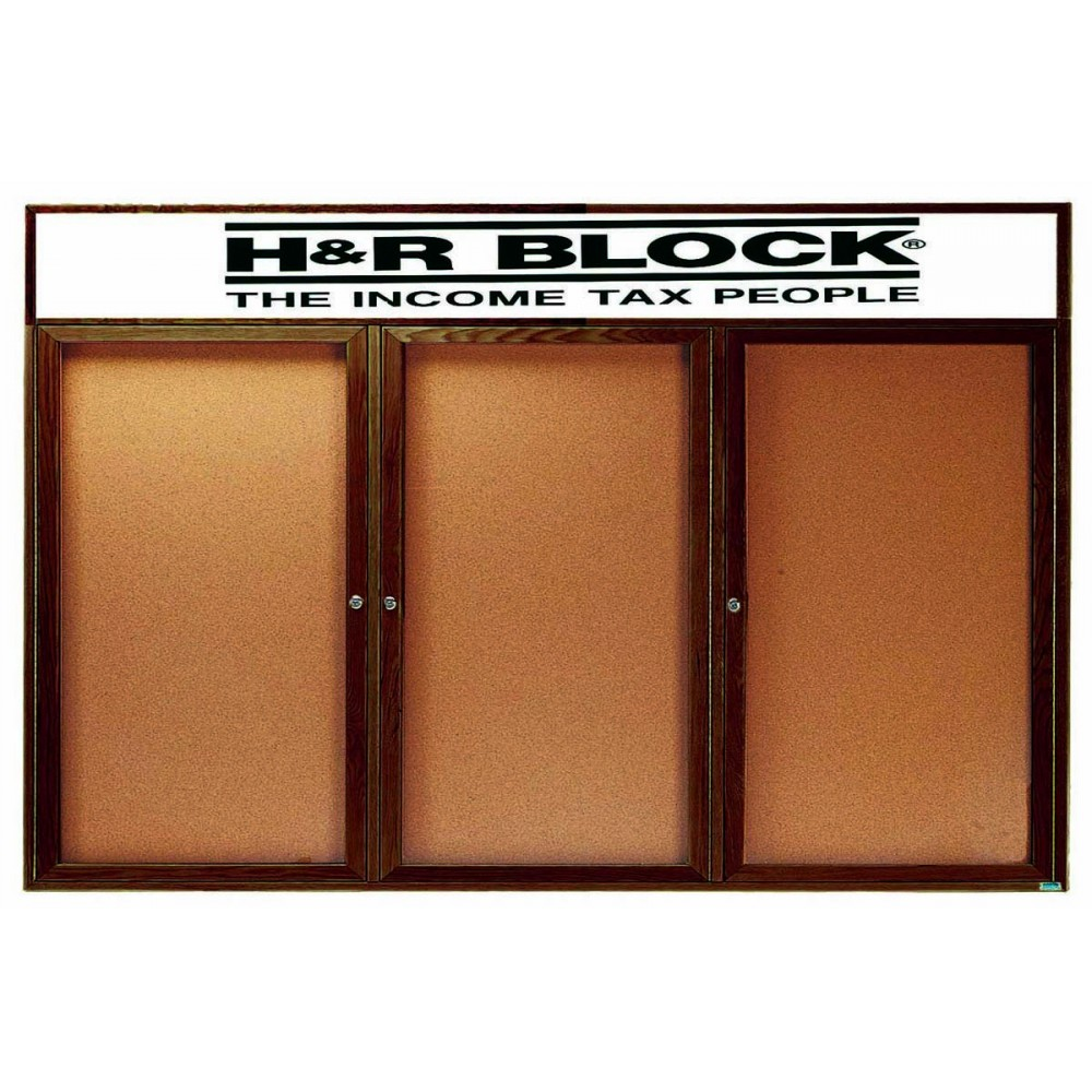 "Aarco Products WBC4896-3RH 3-Door Enclosed Bulletin Board with Walnut Finish and Header, 48""H x 96""W"