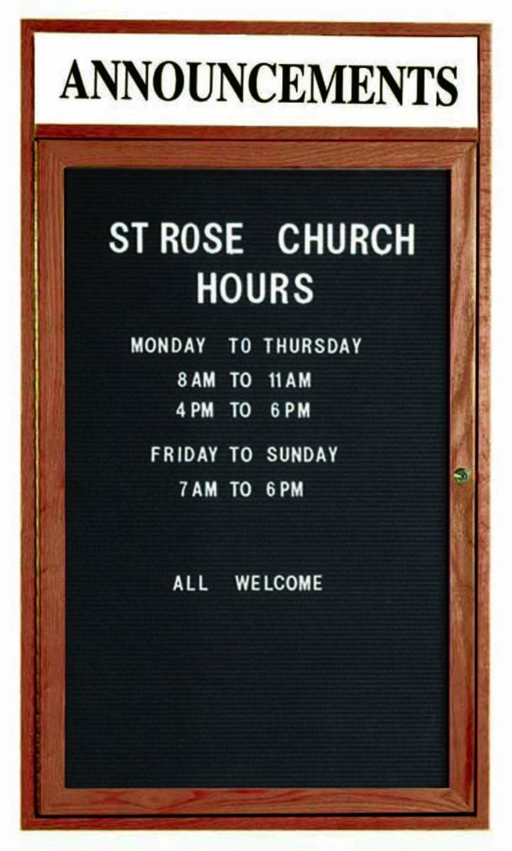 """Aarco Products WDC4836h 1-Door Enclosed Changeable Letter Board with Walnut Finish and Header, 48""""H x 36""""W"""