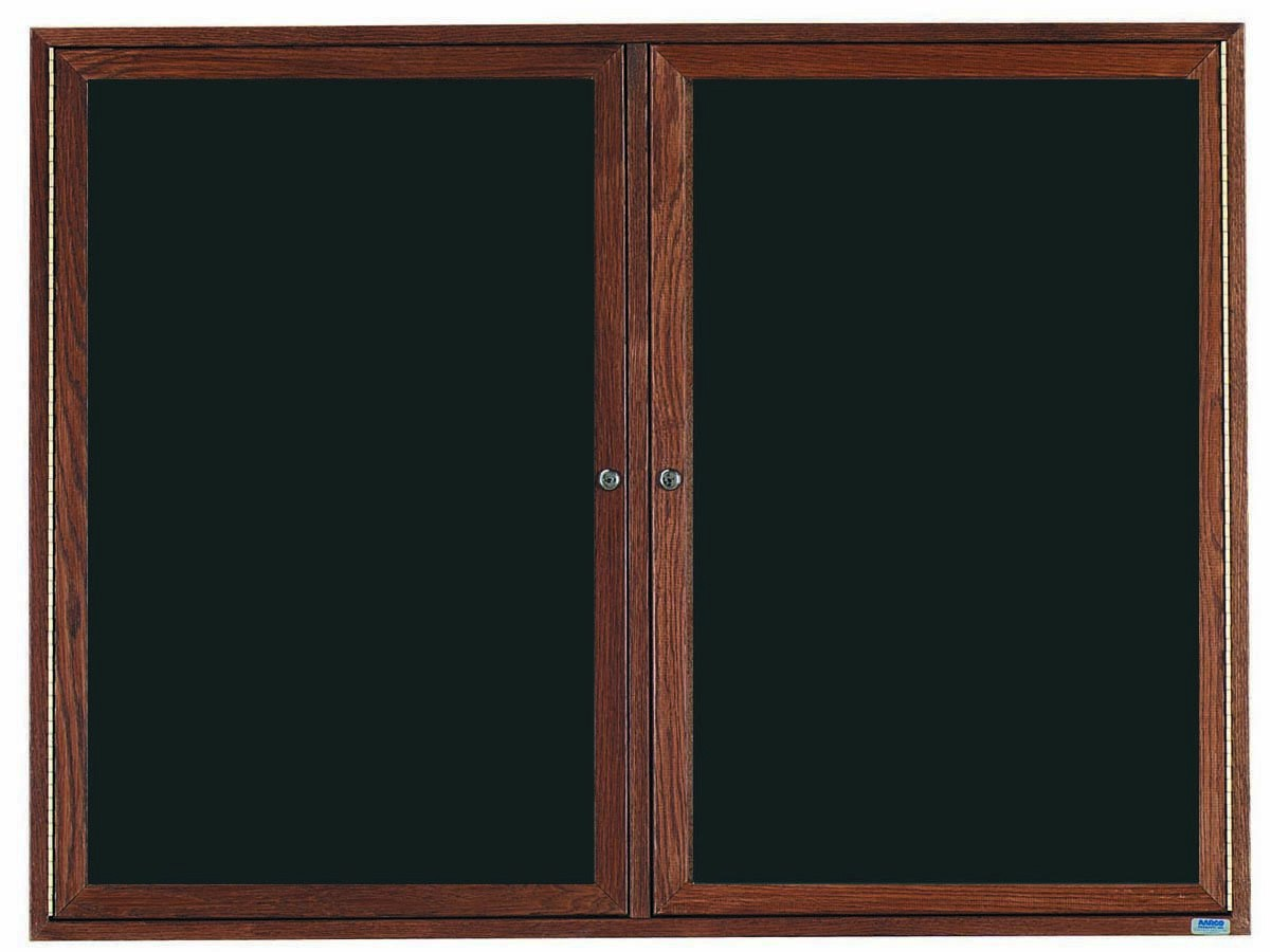 "Aarco Products WDC3648 2-Door Enclosed Changeable Letter Board with Walnut Finish, 36""H x 48""W"