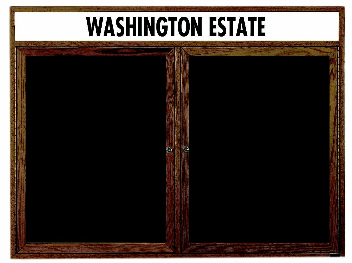 """Aarco Products WDC3648h 2-Door Enclosed Changeable Letter Board with Walnut Finish and Header 36""""H x 48""""W"""