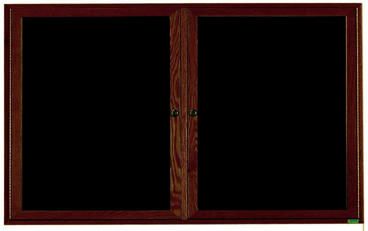 "Aarco Products WDC3660 2-Door Enclosed Changeable Letter Board with Walnut Finish, 36""H x 60""W"