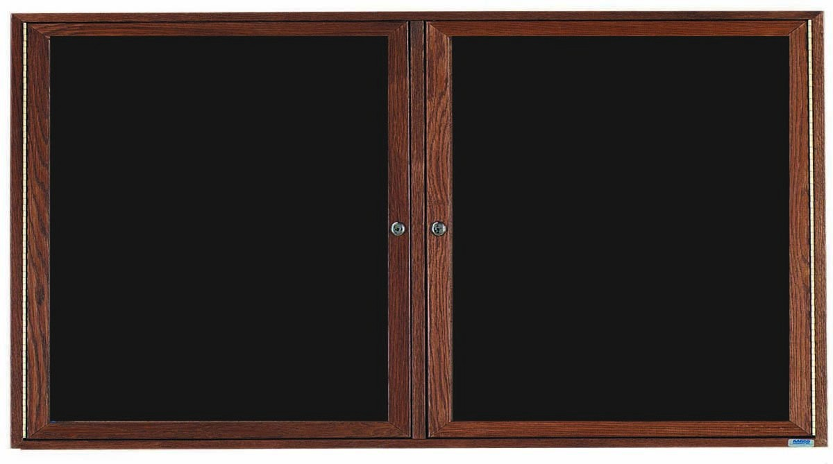 Walnut Stained Oak Frame 2-Door Enclosed Directory Cabinet - 36