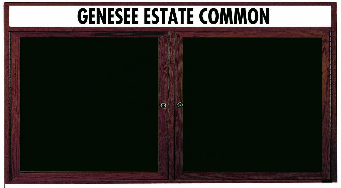 "Aarco Products WDC3672h 2-Door Enclosed Changeable Letter Board with Walnut Finish and Header 36""H x 72""W"