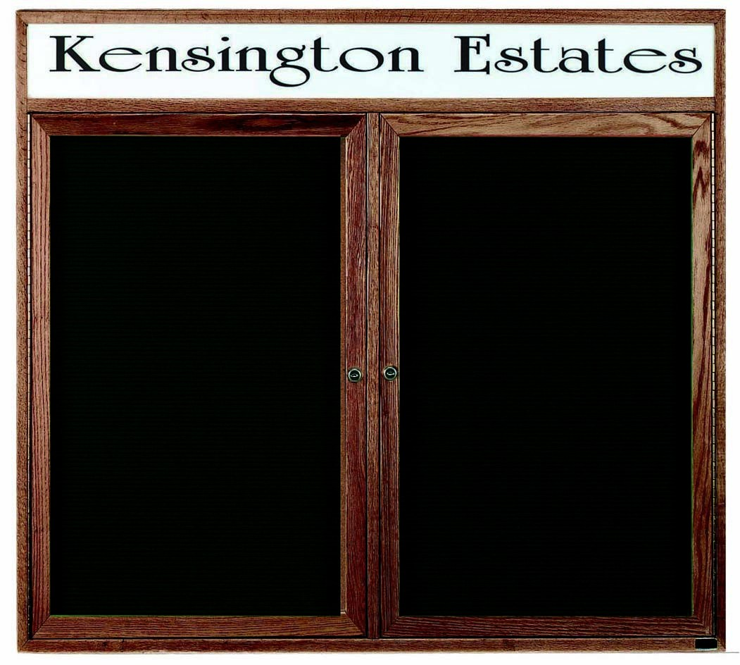"""Aarco Products WDC4860h 2-Door Enclosed Changeable Letter Board with Walnut Finish and Header 48""""H x 60""""W"""