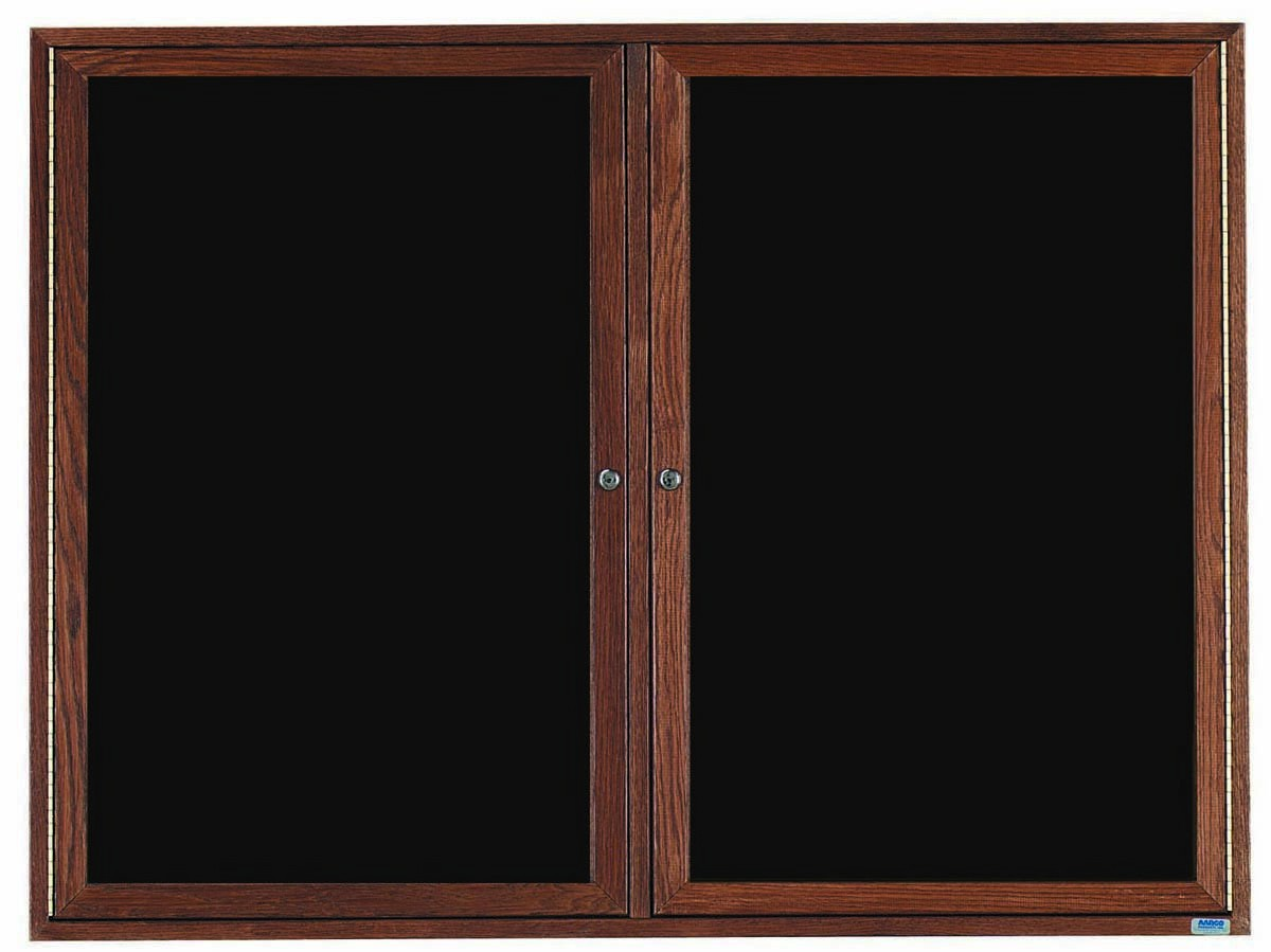 """Aarco Products WDC4872 2-Door Enclosed Changeable Letter Board with Walnut Finish, 48""""H x 72""""W"""