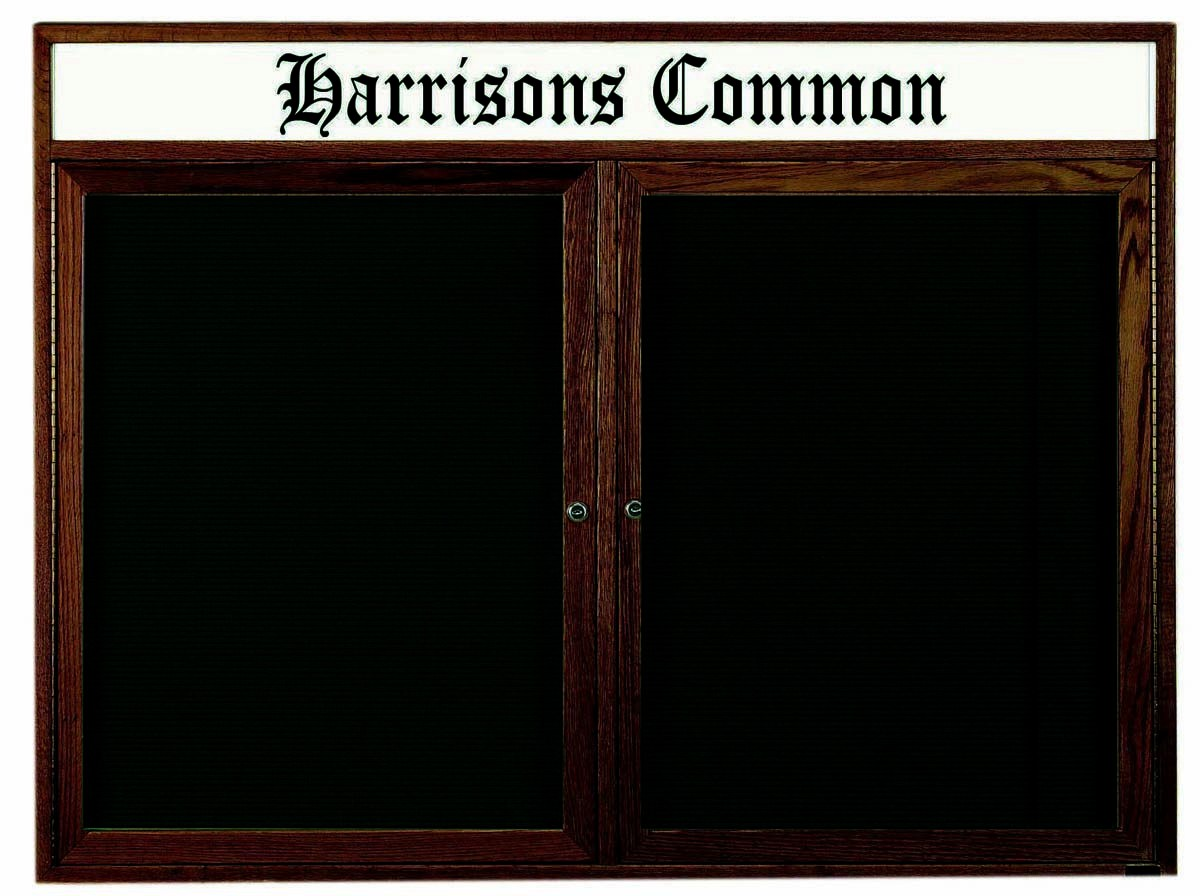 "Aarco Products WDC4872h 2-Door Enclosed Changeable Letter Board with Walnut Finish and Header, 48""H x 72""W"