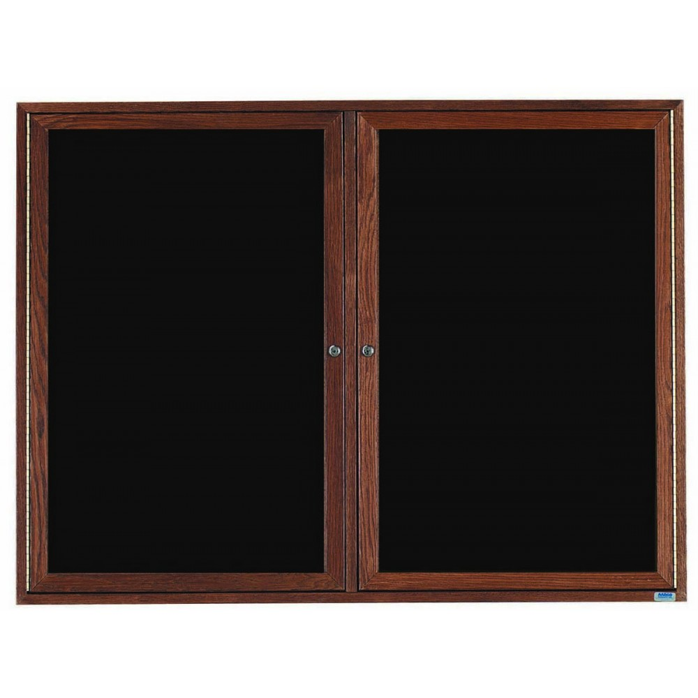 Walnut Stained Oak Frame 2-Door Enclosed Directory Cabinet - 48
