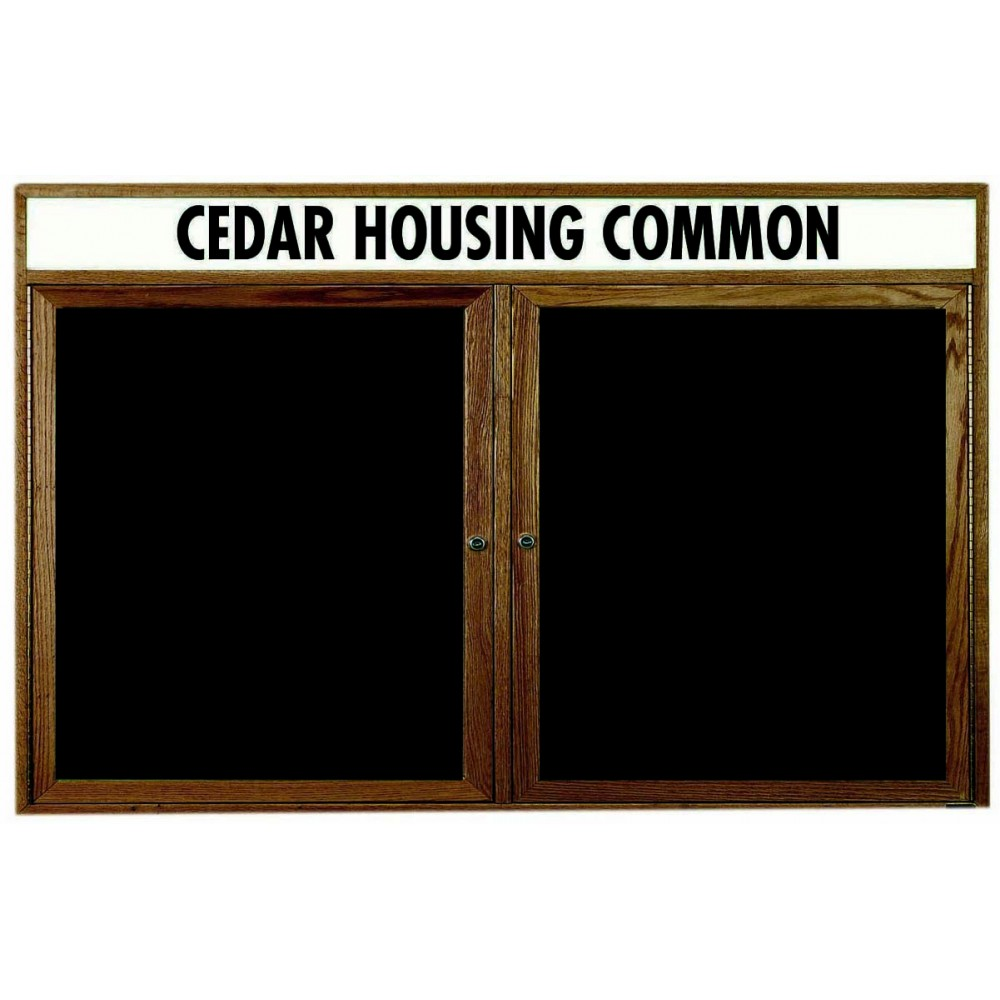 "Aarco Products WDC3660h 2-Door Enclosed Changeable Letter Board with Walnut Finish and Header 36""H x 60""W"