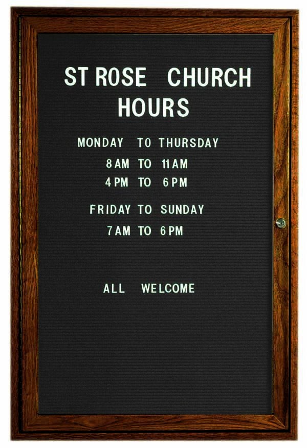 """Aarco Products WDC3624 1-Door Enclosed Changeable Letter Board with Walnut Finish, 36""""H x 24""""W"""