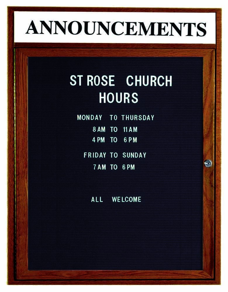 "Aarco Products WDC3630h 1-Door Enclosed Changeable Letter Board with Walnut Finish and Header, 36""H x 30""W"