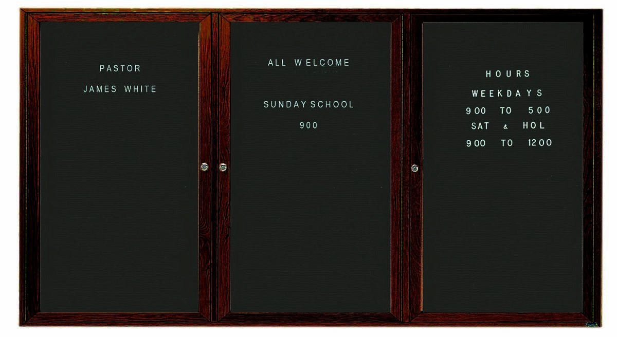 "Aarco Products WDC3672-3 3-Door Enclosed Changeable Letter Board with Walnut Finish,, 36""H x 72""W"