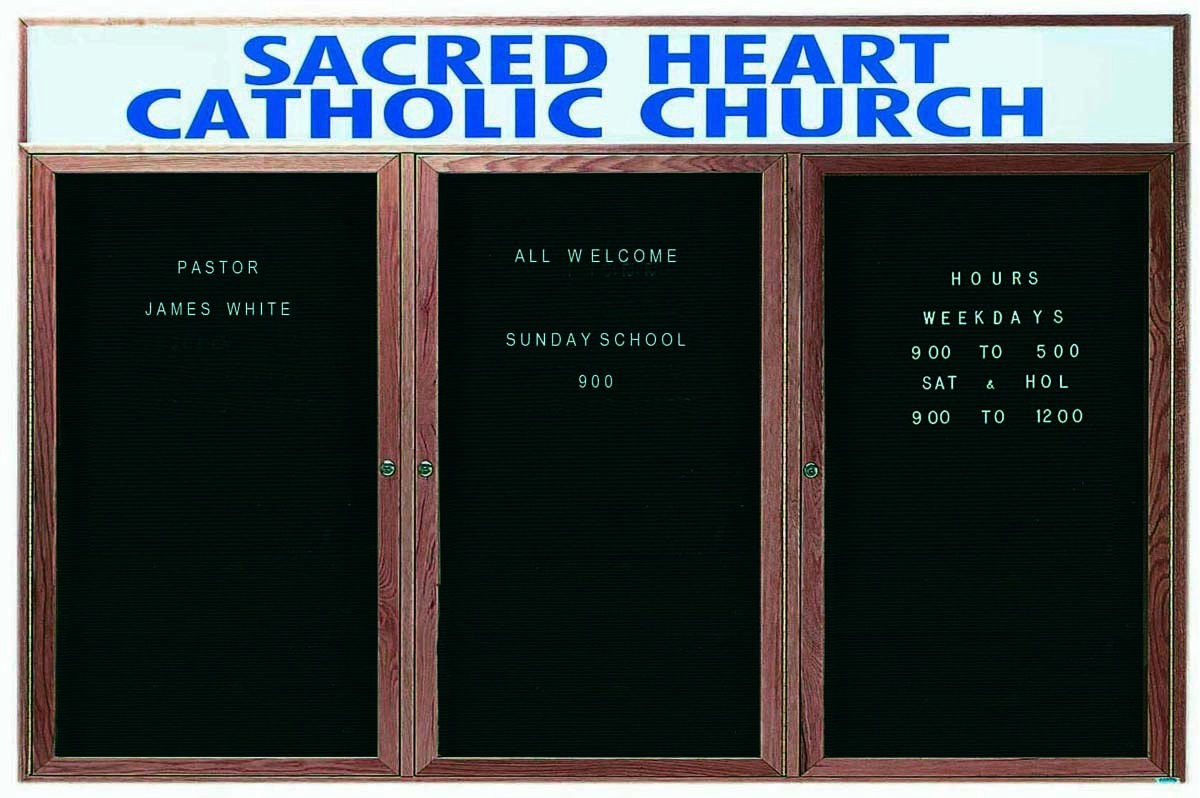 """Aarco Products WDC3672-3h 3-Door Enclosed Changeable Letter Board with Walnut Finish and Header 36""""H x 72""""W"""