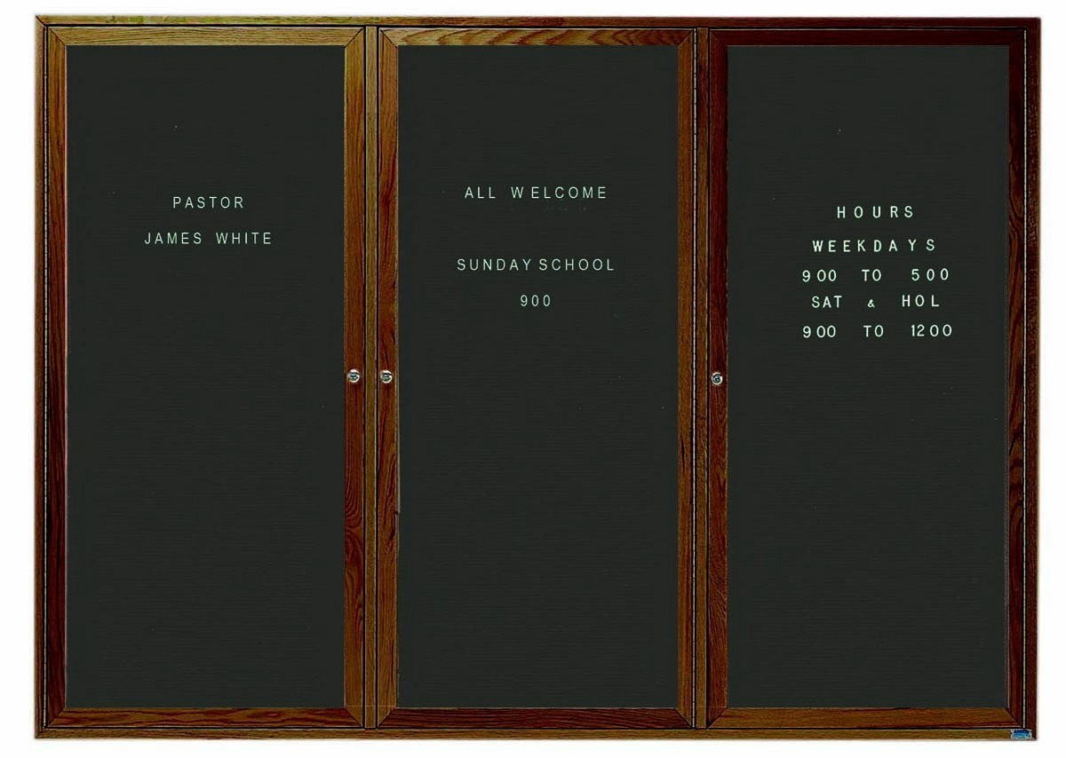 """Aarco Products WDC4872-3 3-Door Enclosed Changeable Letter Board with Walnut Finish, 48""""H x 72""""W"""