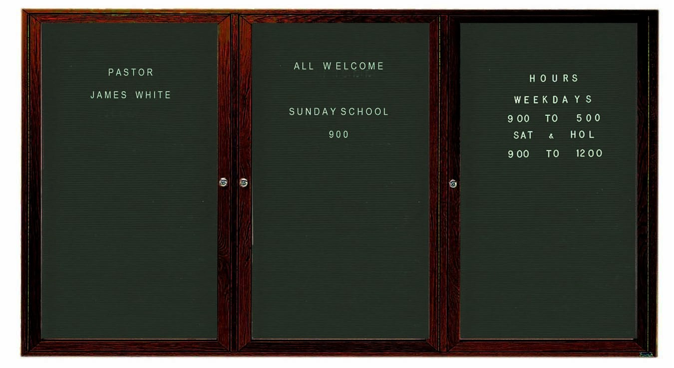 """Aarco Products WDC4896-3 3-Door Enclosed Changeable Letter Board with Walnut Finish, 48""""H x 96""""W"""