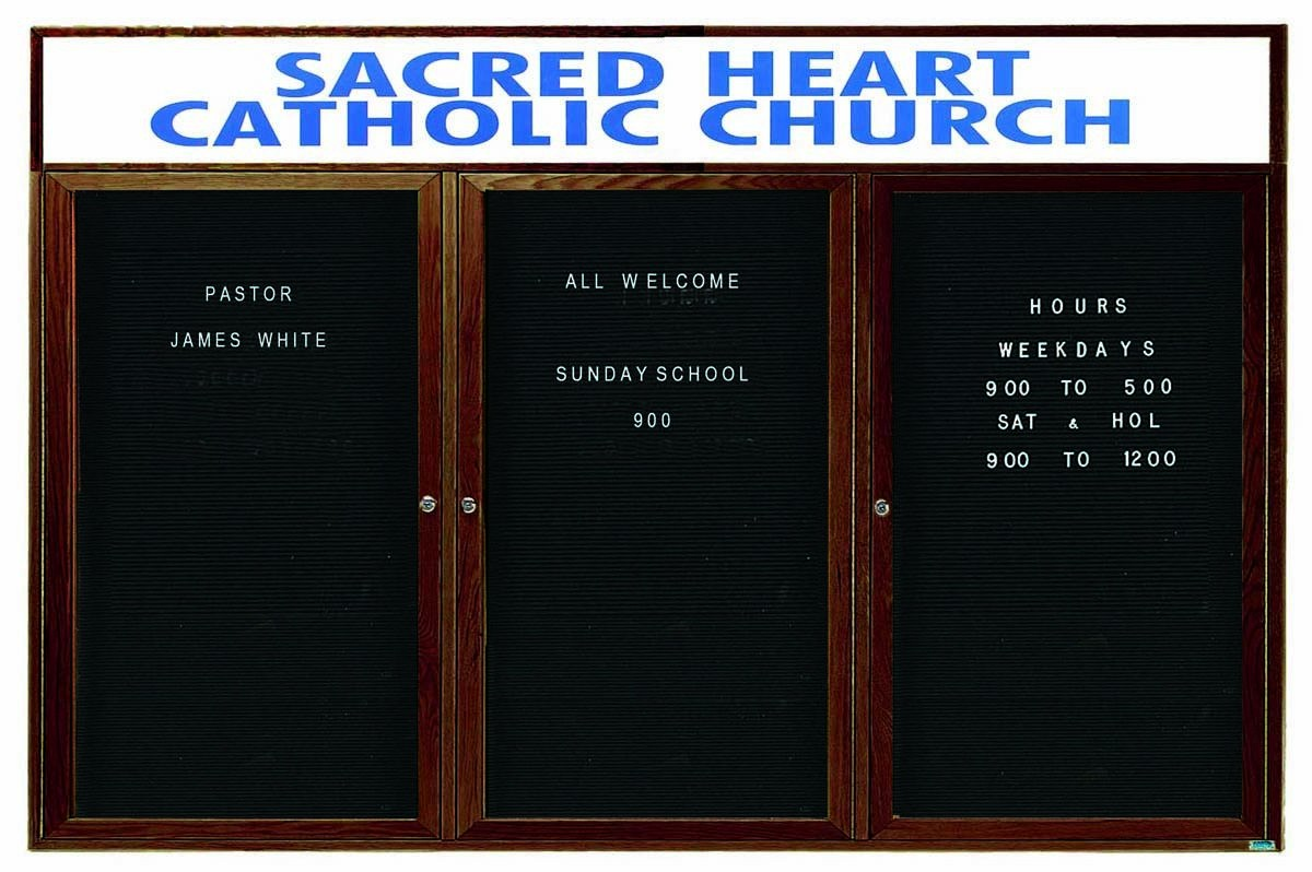 "Aarco Products WDC4896-3h 3-Door Enclosed Changeable Letter Board with Walnut Finish and Header, 48""H x 96""W"