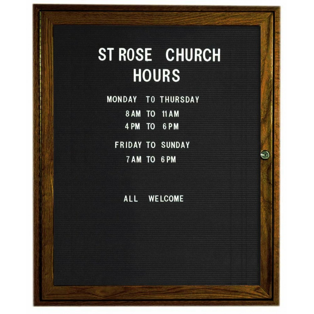 "Aarco Products WDC3630 1-Door Enclosed Changeable Letter Board with Walnut Finish, 36""H x 30""W"