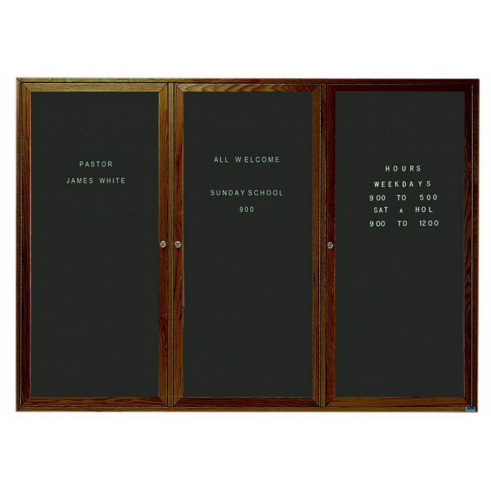 "Aarco Products WDC4872-3 3-Door Enclosed Changeable Letter Board with Walnut Finish, 48""H x 72""W"