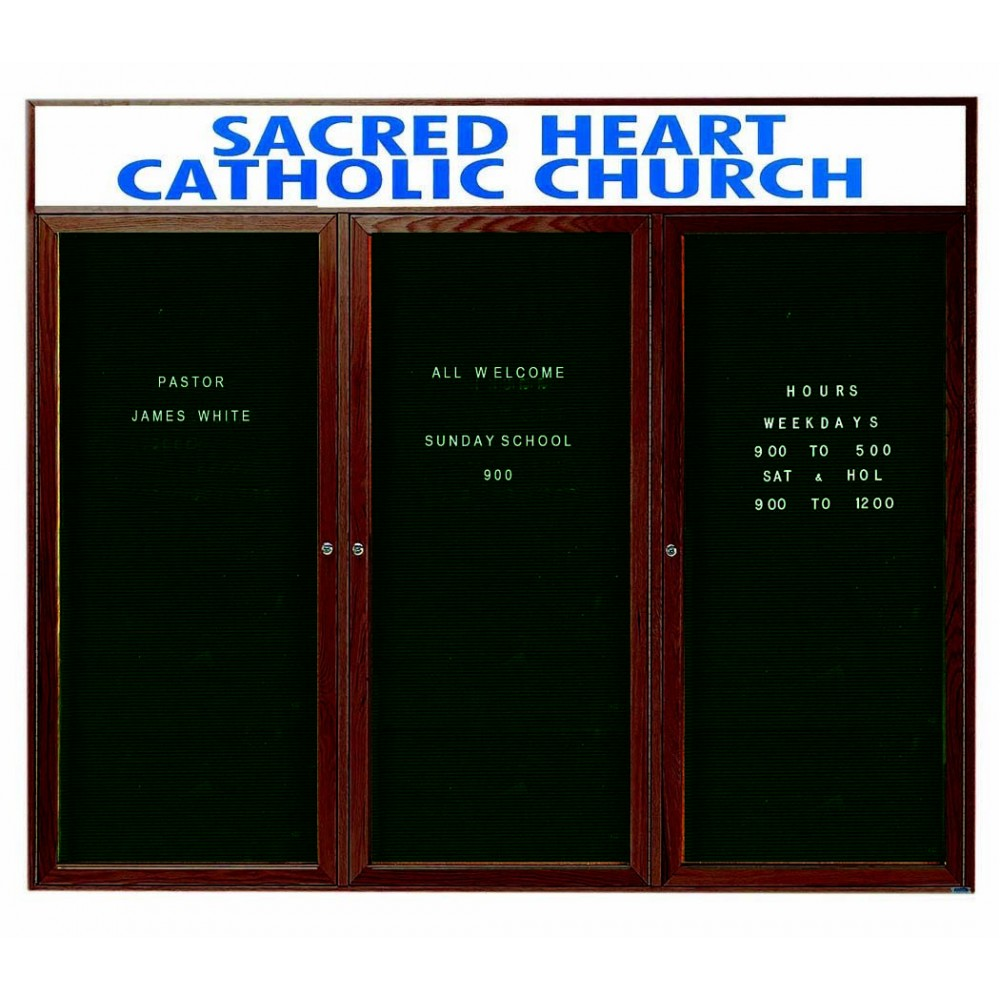 "Aarco Products WDC4872-3h 3-Door Enclosed Changeable Letter Board with Walnut Finish and Header, 48""H x 72""W"