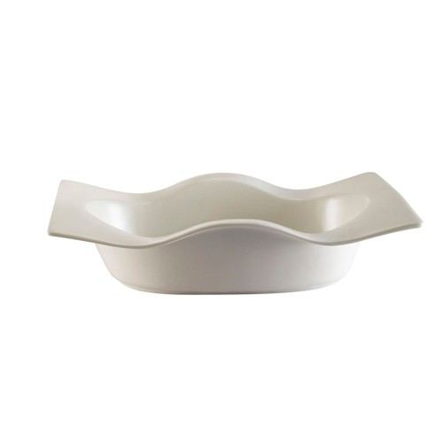 "CAC China WB-10 Fashionware Wave Edge 22 oz. Rectangular Bowl, 10"" x 6 3/8"""
